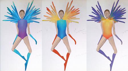 Tekeningen van de kleurrijke kostuums van Frida