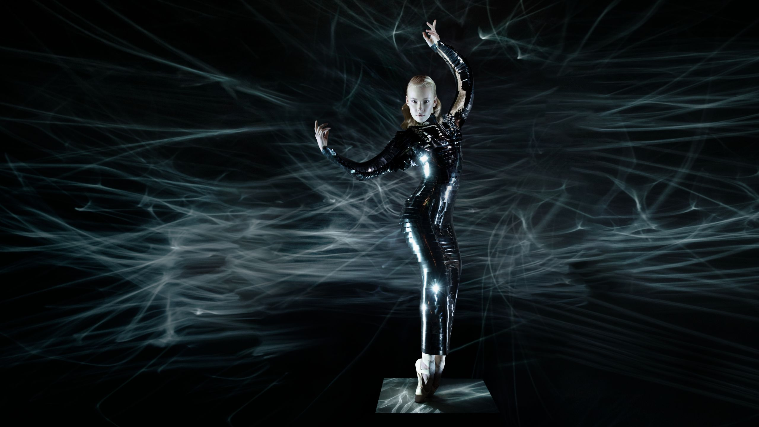 Woman in black latex