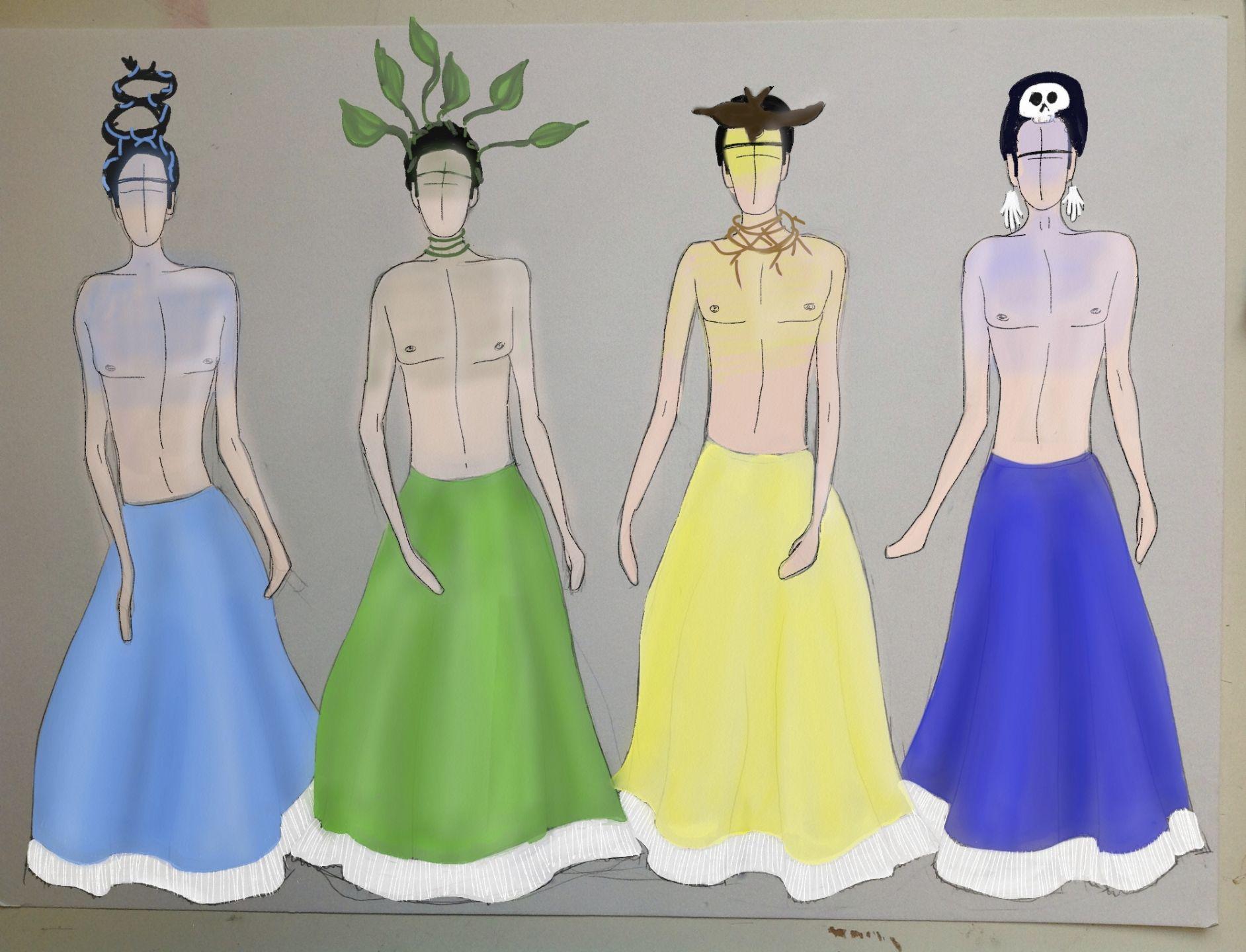 Tekeningen van de Frida kostuums