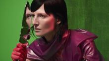 Vrouw met groene achtergrond