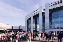 People of various ages in front of Dutch National Opera & Ballet